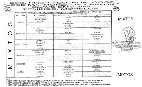CALENDARIO EXAMEN 1er PARCIAL CICLO ESCOLAR 2014-2015 SEM